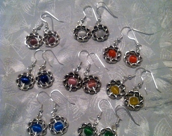 Celtic knot catseye earrings. You choose color of beads and wire.