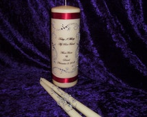 Three Piece Personalized Unity Candle set made with a swirl design of rhinestones with deep red ribbon