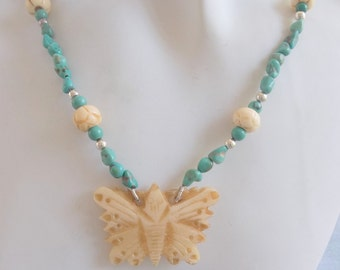 Bone Butterfly and Turquoise Necklace