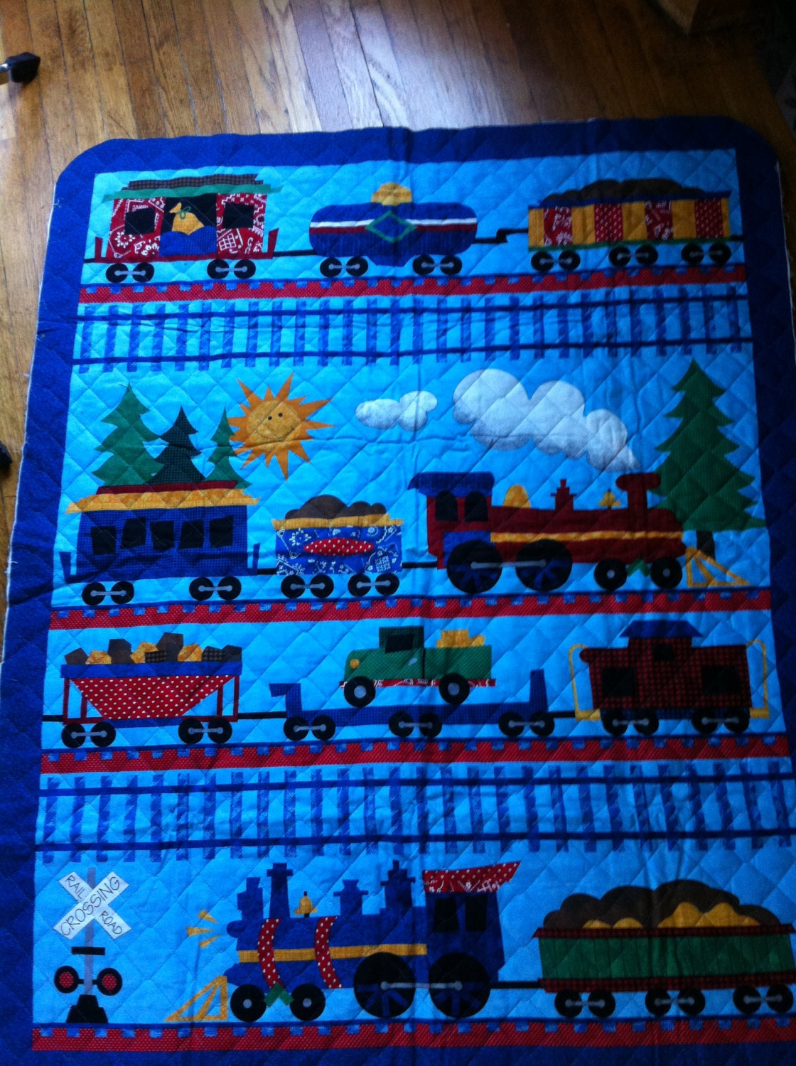 Train rr choo choo train quilt fabric panel 100 cotton fabric for Train print fabric