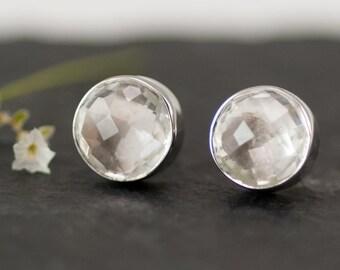 Stud Earrings - Clear Quartz Stud Post Earrings - Silver Stud Gemstone Earrings - April Birthstone Earrings