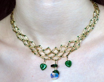 Gold and Green Leafy Lattice Necklace and Earring Set