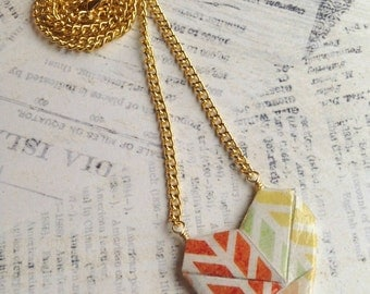 Sweetheart Origami Paper Heart Necklace // Multicolor Chevron