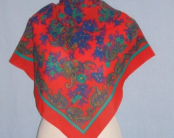 Vintage gypsy boho red and green neck scarf