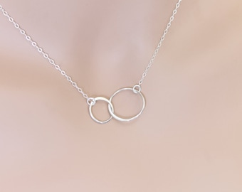Double Karma Necklace Sterling Silver Circles Weddings Graduation