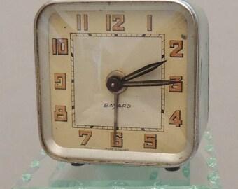 Vintage French Alarm Clock Mid Century Retro Grey Green Bayard Miniature Mini Clock French Decor