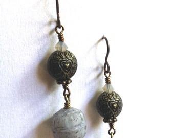 Cute Darling Romantic Soft Heart Air Blue Opal Grey Swarovski Czech Glass Brass Hypoallergenic Niobium Earrings Valentines Day Girl Gift