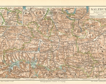 1907 Original Antique Dated Map of Salzburg or Salzburgerland, Austria