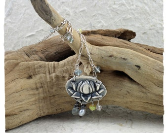 Padmavati Devi - moss aquamarine and lotus necklace in fine silver and sterling