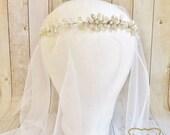 Champagne Bridal Headpiece, Wedding Headpiece, Bridal Headband, Bridal Crown, Floral, Swarovski Crystal, Pearl, Ready to Ship