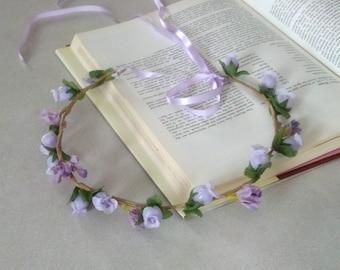 Boho Chic bridal headpiece Lavender floral crown spring Flower girl halo Hair wedding Accessories artificial Woodland Wreath