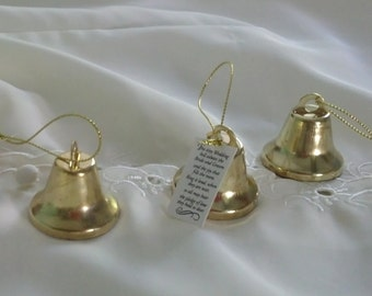 Gold Wedding Bell favors set of 24 winter reception accessories Kissing Bells bride groom make your own ring to kiss DIY supplies crafts