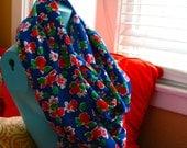 Infinity Scarf, Handmade, Blue, Floral, Super Long, Polyester, Cotton Blend, Shawl, Nursing Cover, Spring, Rain Hood...