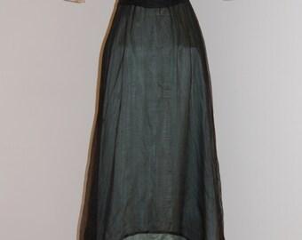 Vintage Edwardian Silk, Chiffon and Metallic Gold Lace Dinner Dress