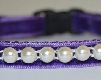 Pearl - Purple velvet cat collar w/pearl ribbon and cat charm - unique handmade breakaway soft cat collar