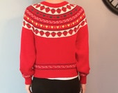 1980s Hipster Novelty Geometric Strawberry and Hearts Sweater