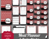 Red and Black Chevron Meal Planner Recipe Binder - (26 pages) PDF Printable Files - Instant Digital Download