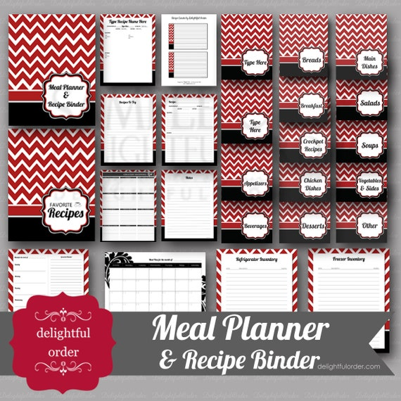 Red And Black Chevron Meal Planner Recipe Binder 26 Pages