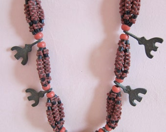 Berber Necklace Mixed Glass Beads with Woollen Cord Moroccan Sahara