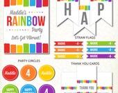 CUSTOM Rainbow Birthday Party Printable Kit