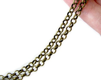 Chain : Antique Bronze Rolo Chain / Brass Ox Cross Chain - 3.5mm x 1mm ... SOLD PER 16 FEET ... Lead, Nickel & Cadmium Free 55223