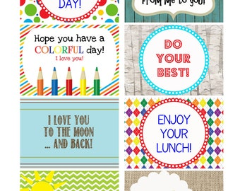 INSTANT DOWNLOAD Printable Kids Lunchbox Note Cards Lunch Box Encouragement Cards - Back to School tags
