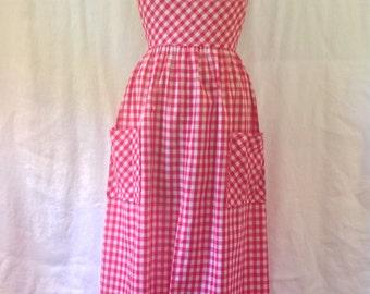 Gingham Halter Dress  / 1970s / small - medium