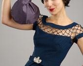 Divine Purple Vintage Style 1940s Silk Slouch Evening Wristlet