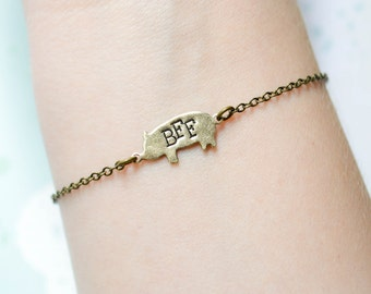 Seconds SALE - Pig Friendship Bracelet - Pig BBF Bracelet - Best Friend Bracelet - Friendship Jewelry - BFF Jewelry