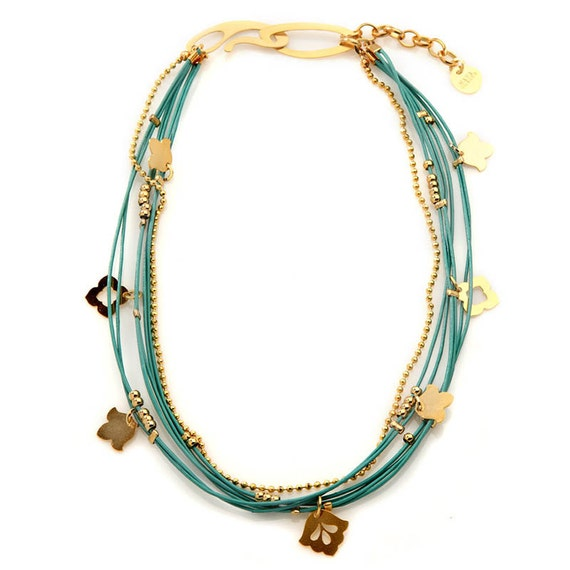 Nava Glazer Turquoise leather and Gold Wrap Necklace/ Bracelet