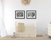 Nursery Decor, Nursery Print or Canvas Art, Sepia Nursery Set of 2, Vintage Nursery Art, Rustic Nursery Decor, Cottage Nursery, Shower Gift.