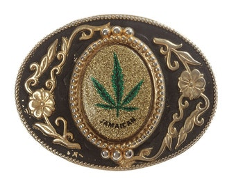 Vintage Pot Leaf Belt Buckle Marijuana Glitter Sparkle Jamaica Pro Weed Legalize It Jamaican Gold Cannabis Pothead Stoner Gift BB13 SALE