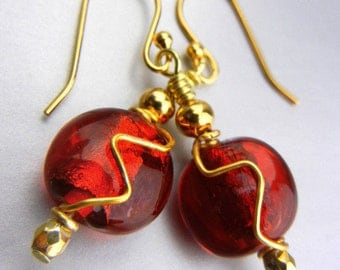 Red earrings with gold wire wrapping // small dangle earrings // wire embellished // holiday earrings // Christmas gift