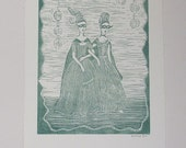 Original lino print Arriving at the masked ball