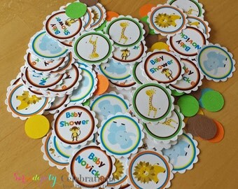 Personalized Table Confetti -Jungle Friends-Table Minis -Party Confetti -Birthday-Baby Shower-Lion-Monkey-Giraffe-Elephant-Jungle Animals