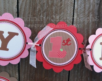 Personalized Happy Birthday Banner -Red and Pink Farm -Birthday Banner -Farm Animals -Photo Prop