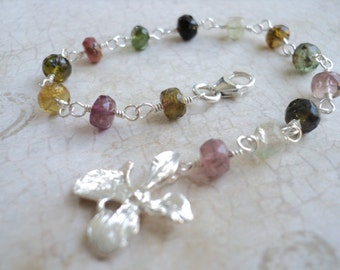 Sterling Silver Orchid and Watermelon Tourmaline Bracelet