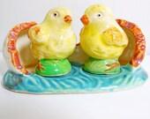 Yellow Chicks in Egg Shell Salt & Pepper Shaker Set - Vintage
