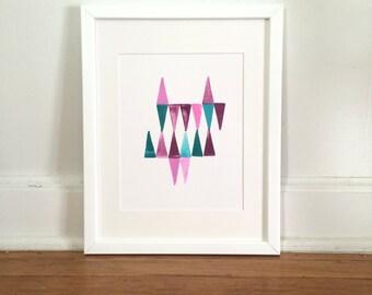 Triangles #2 in Pink, Purple, Teal Original