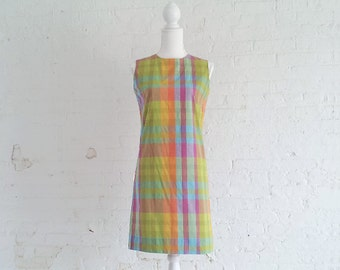 1960s Rainbow Plaid Shift Dress 60s Vintage Multicolor Madras Pink Green Ombre Cotton Day Dress Mod Preppy Small XS Sundress Sheath Dress