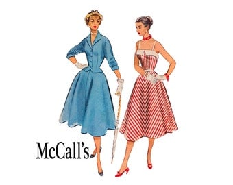 Rockabilly Sundress full skirt & jacket Vintage sewing Pattern 1950s 50s Bust 34 Size 16 McCalls 8976