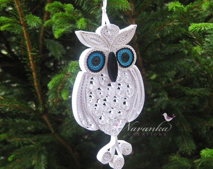 Owl always love you - Paper Quilling Owl in a gift box ,Paper Quilled White Owl,Filigree, Paper Anniversary, Mothers Day Snowy Owl