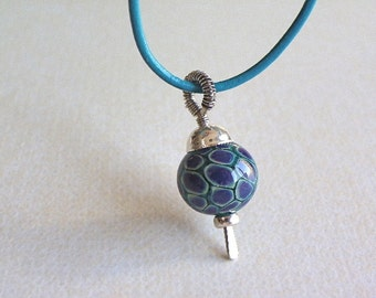 Handmade wire wrapped Leather Sterling silver necklace lampwork glass jewelry