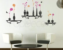 Nature Wall Decals Vinyl Wall Papers Modern Vase - Flowers and Vases - Living Room Removable Decal Vinyl Art Flowers Wall Murals