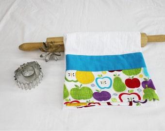 Retro Apples Flour Sack Kitchen Towel with teal stripe