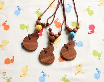 Fox Nursing Necklace / Wooden Teething Necklace  -  Lightweight Babywearing & Breastfeeding Jewelry - CHOOSE YOUR COLOR