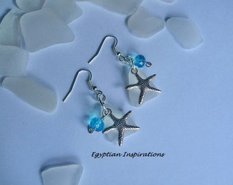 Sea glass earrings. Starfish beach glass earrings.