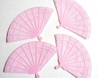 Pink Plastic Lace Fans - 4 Pieces