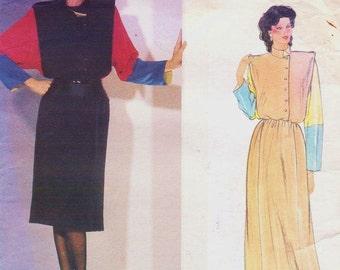 80s Chloe Womens Color Blocked Dress Vogue Paris Original Sewing Pattern 1100 Size 10 Bust 32 1/2 Vintage Sewing Patterns
