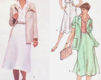 70s Calvin Klein Womens Jacket, Shirt and Skirt Vogue Sewing Pattern 1671 Size 10 Bust 32 1/2 UnCut Vintage Vogue  American Designer